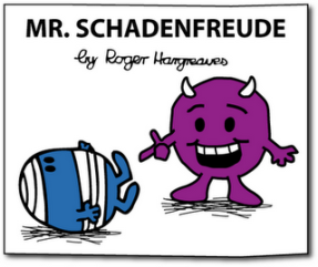 Cover of a Mr Men style book labelled 'Mr Schadenfreude' with a horned purple character laughing at Mr Bump who has fallen over on the ground